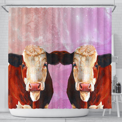 Simmental Cattle (Cow) Print Shower Curtains-Free Shipping