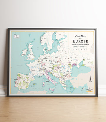 wine map of europe poster vineyard