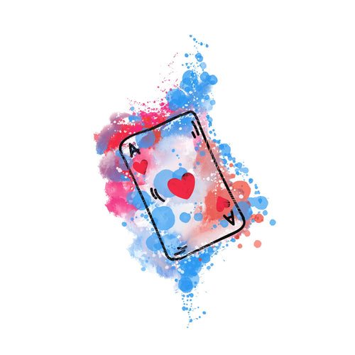 Ace of Hearts Temporary Tatoo Design. Tags: Watercolor, Color, Abstract,