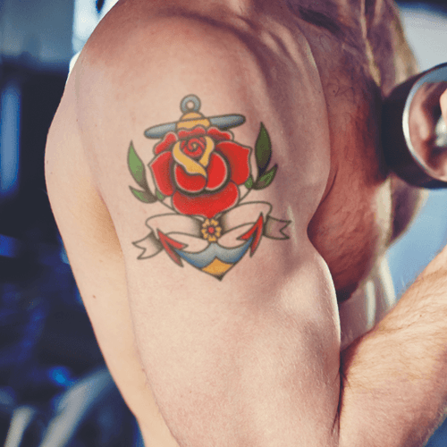 Anchor Rose Temporary Tattoo