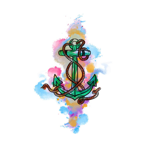 Watercolor Anchor Temporary Tatoo Design. Tags: Color, Watercolor, Abstract,