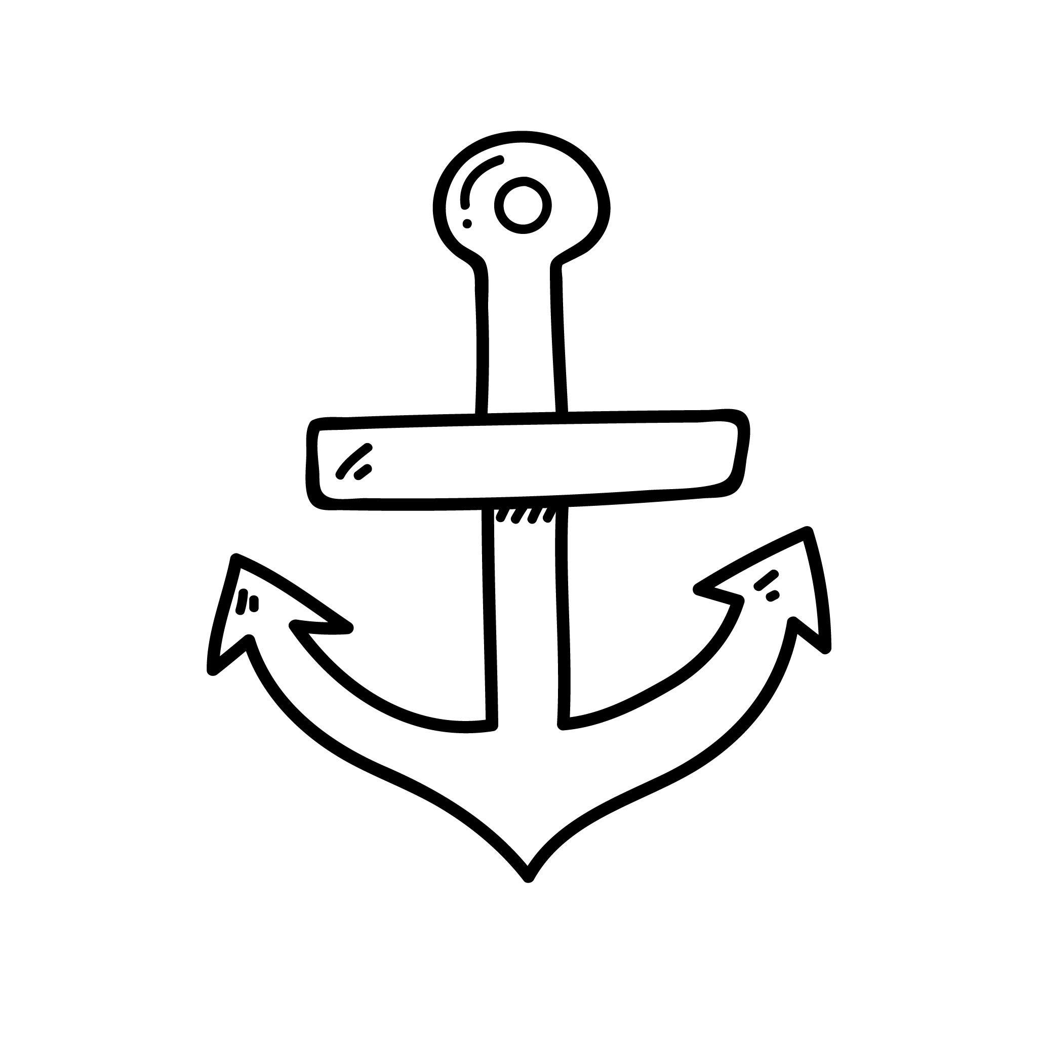 Anchor Temporary Tatoo Design. Tags: Black and White, Minimal, Traditional, Anchors