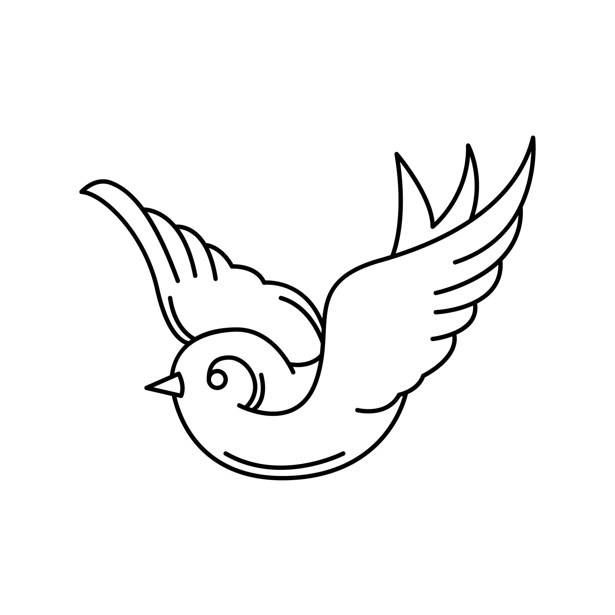 Bird_Min Temporary Tatoo Design. Tags: Minimal, Black and White, Traditional, Animals