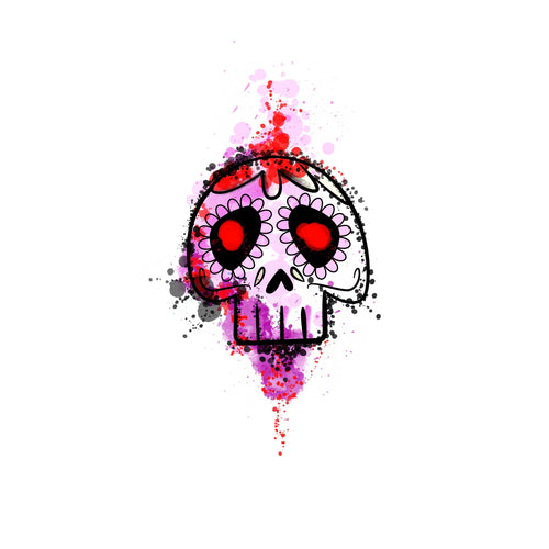 Bloody Water Skull Temporary Tatoo Design. Tags: People, Color, Watercolor, Abstract