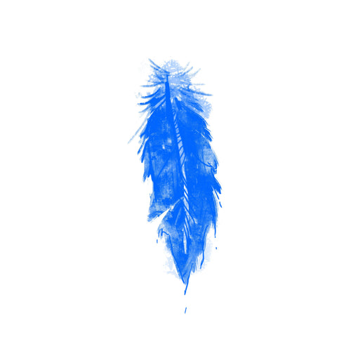 Blue Feather Temporary Tatoo Design. Tags: Animals, Color, Watercolor,