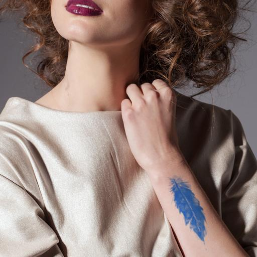 Blue Feather Temporary Tattoo