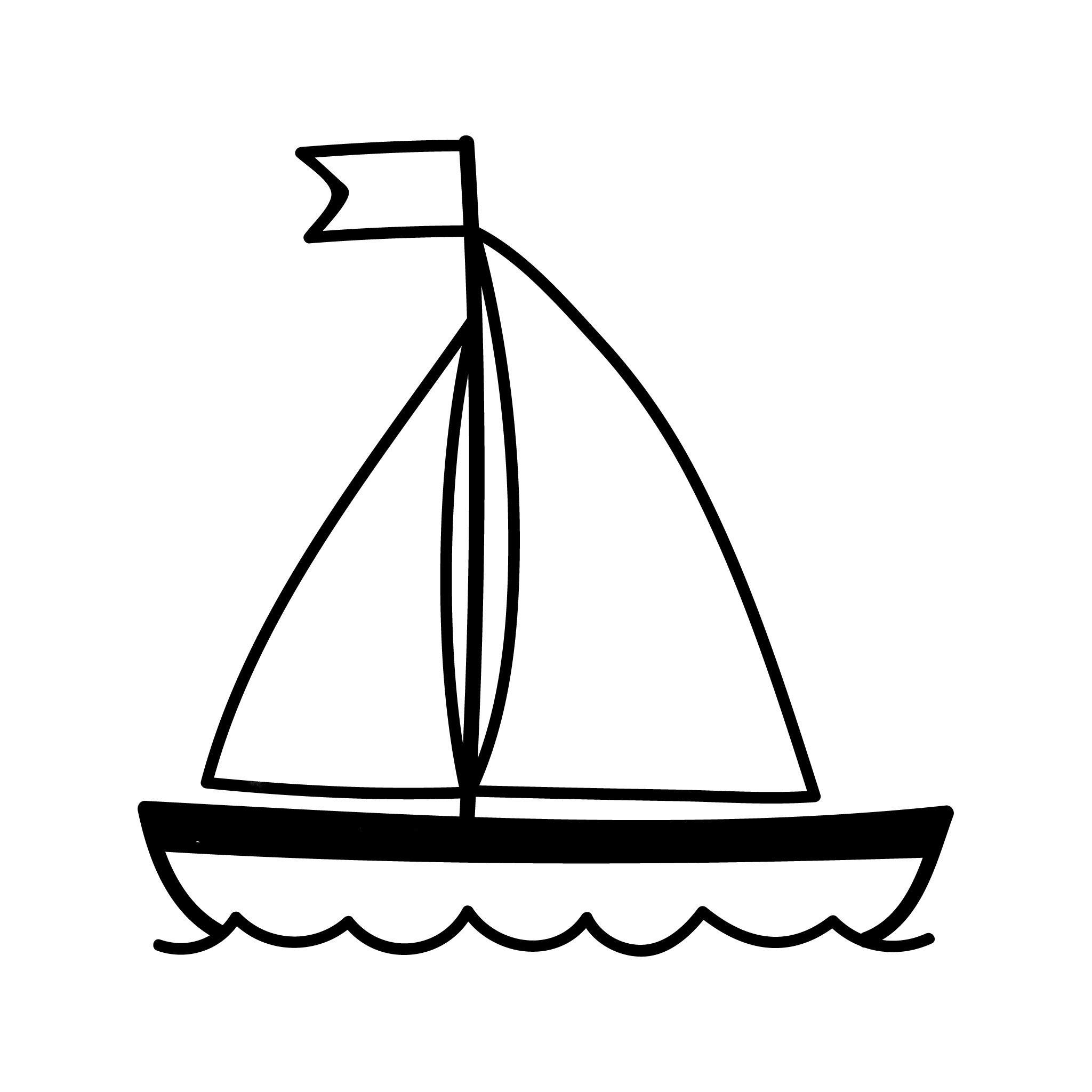 Boat Temporary Tatoo Design. Tags: Black and White, Minimal, Traditional,