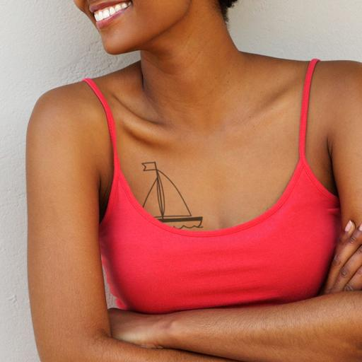 Boat Outline Temporary Tattoo