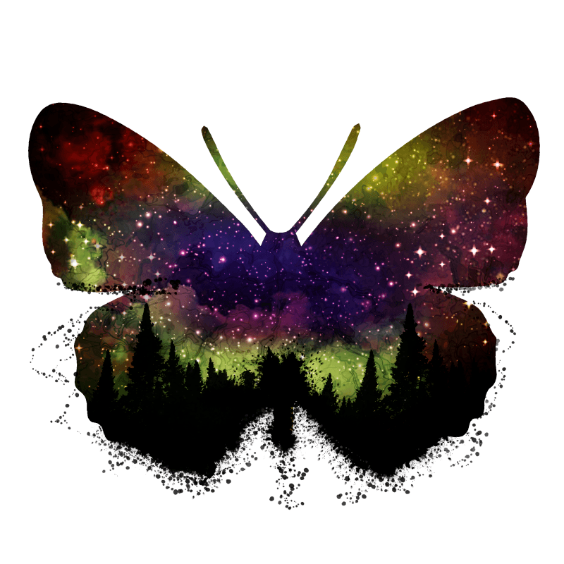 Butterfly Night Sky Temporary Tatoo Design. Tags: Festival, Nature, , , Unisex, Color, New