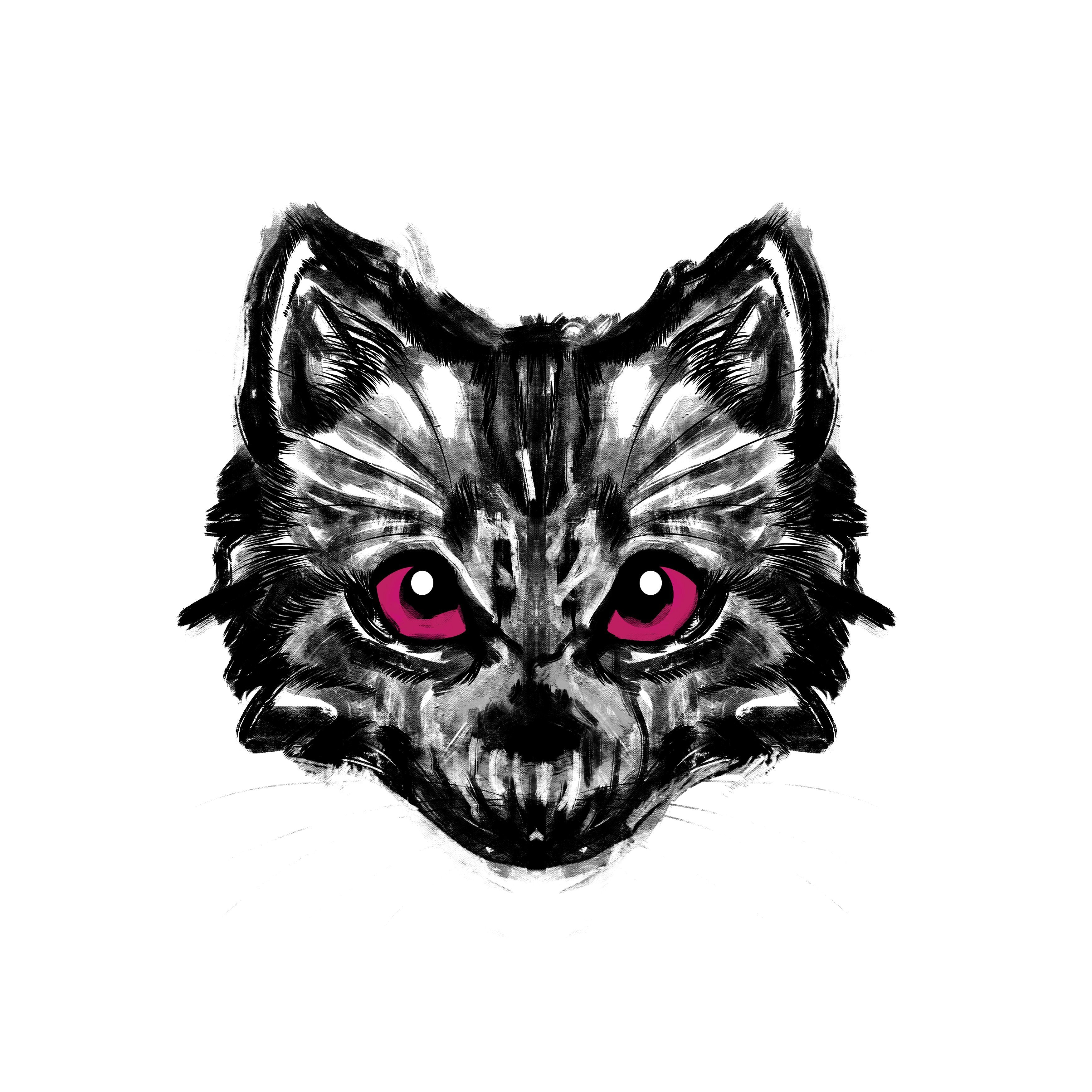 Cat Skull Temporary Tatoo Design. Tags: Animals, Abstract, Black and White,