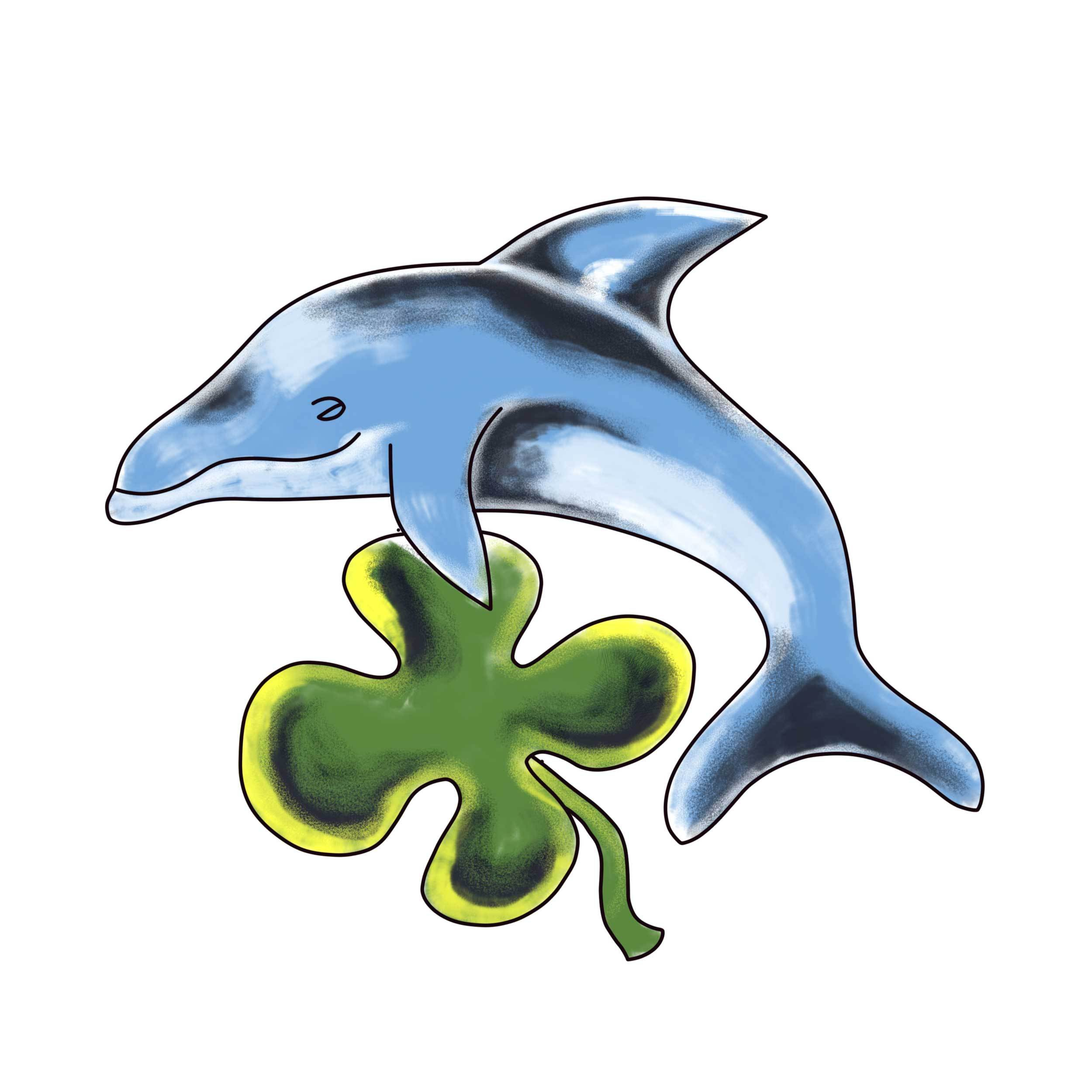 Clover Dolphin Temporary Tatoo Design. Tags: Animals, Color, Abstract,