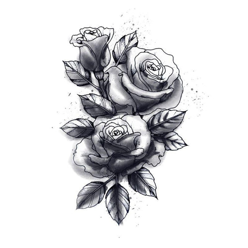 Symbolic Rose Temporary Tatoo Design. Tags: Abstract, Flowers, , , Unisex, Black and White, New