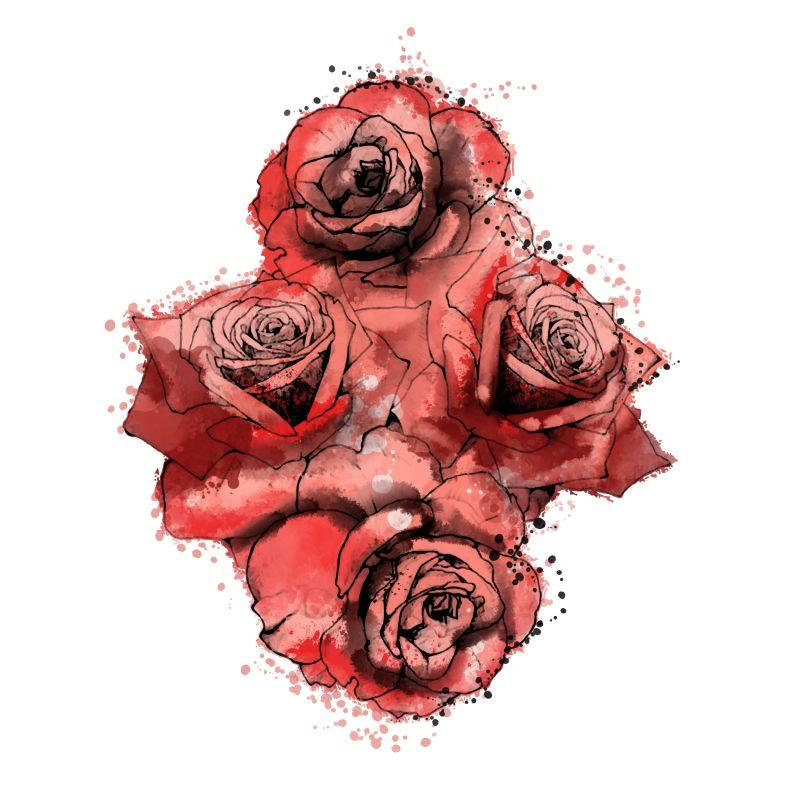 Bloody Rose Temporary Tatoo Design. Tags: Watercolor, Flowers, , , Unisex, Color, New