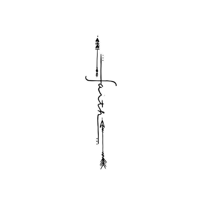Arrow Cross Temporary Tatoo Design. Tags: Religious, Traditional, , , Unisex, Black and White, New