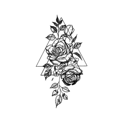 Triangular Rose Temporary Tatoo Design. Tags: Abstract, Flowers, , , Unisex, Black and White, New
