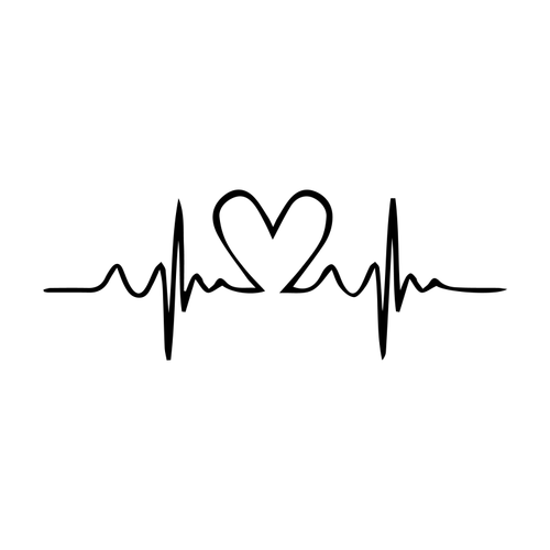 Heart Pulse Temporary Tatoo Design. Tags: Abstract, Minimal, , , Unisex, Black and White, New