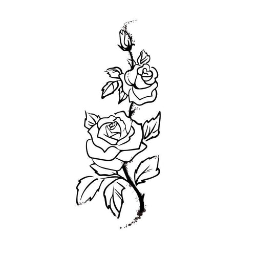 Line Art Rose Temporary Tatoo Design. Tags: Abstract, Flowers, , , Unisex, Black and White, New