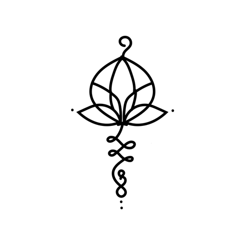 Unalome Lotus Flower Temporary Tatoo Design. Tags: Abstract, Flowers, , , Unisex, Black and White, New