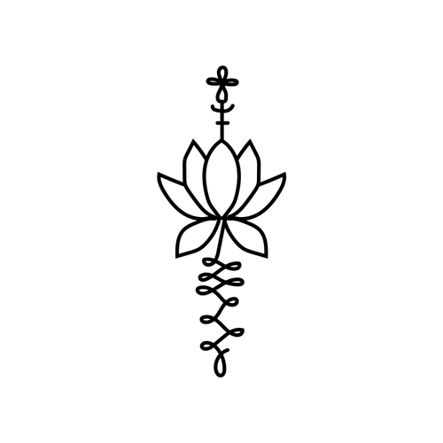 Blooming Lotus Temporary Tatoo Design. Tags: Abstract, Flowers, , , Unisex, Black and White, New