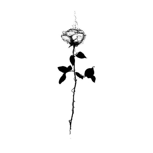 Rising Rose Line Temporary Tatoo Design. Tags: Minimal, Flowers, , , Unisex, Black and White, New