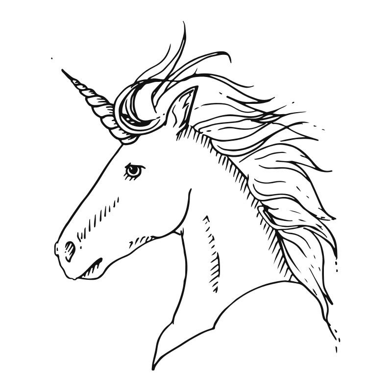 Casual Unicorn Temporary Tatoo Design. Tags: Animals, Realistic, Unicorns, , Unisex, Black and White, New