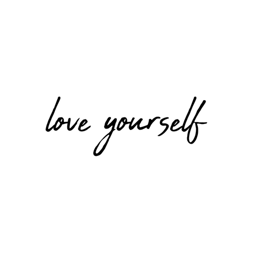 Love Yourself Temporary Tatoo Design. Tags: Text, Slogans, Cursive, , Womens, Black and White, New