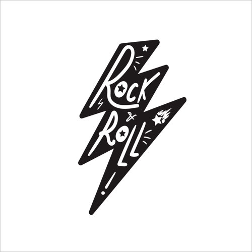 Rock and Roll Lightning Temporary Tatoo Design. Tags: Text, Slogans, , , Unisex, Black and White, New