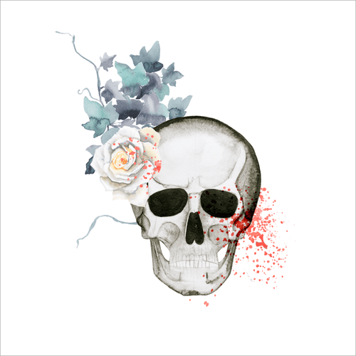 Skull and Flowers Temporary Tatoo Design. Tags: Flowers, Nature, Skulls, , Unisex, Color, New