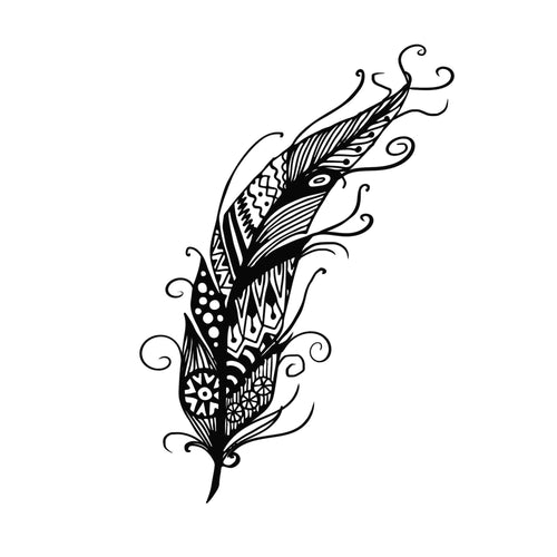 Feather_1 Temporary Tatoo Design. Tags: Nature, Black and White, Animals, Geometric