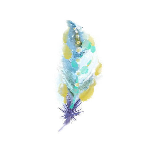 Feather_3 Temporary Tatoo Design. Tags: Nature, Color, Animals, Watercolor