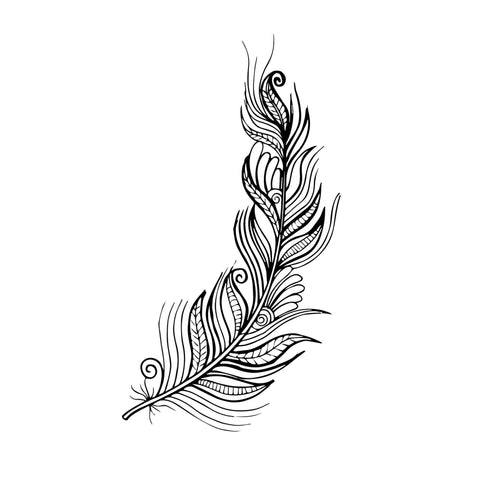 Feather_4 Temporary Tatoo Design. Tags: Nature, Black and White, Animals, Geometric
