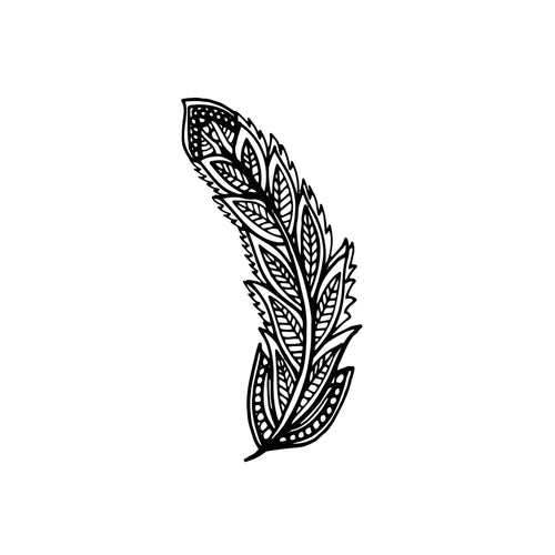 Feather_7 Temporary Tatoo Design. Tags: Nature, Black and White, Animals, Geometric