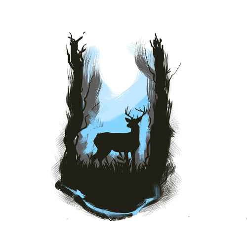 Sacred Forest Temporary Tatoo Design. Tags: Nature, Watercolor, Color, Animals