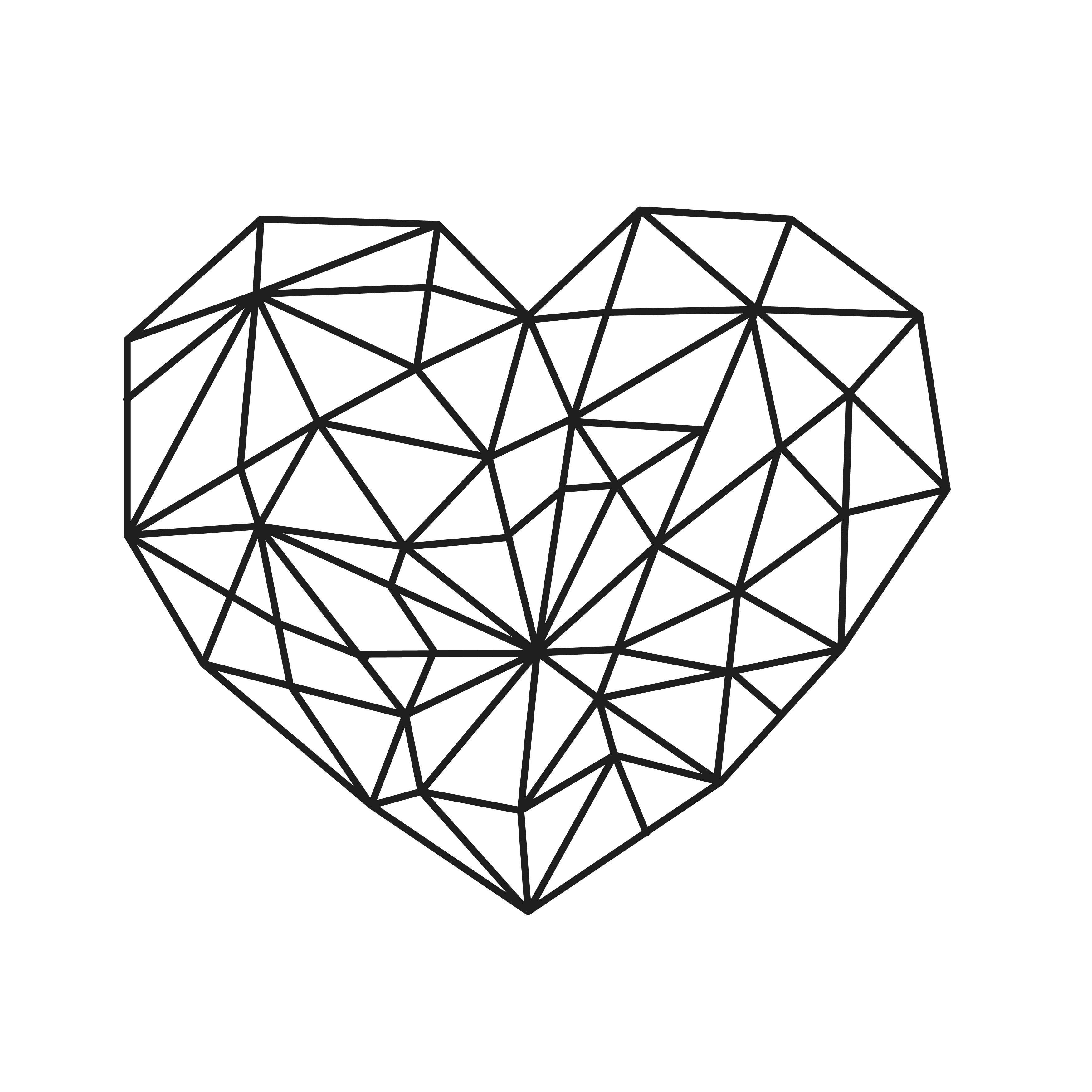 Geo Heart Temporary Tatoo Design. Tags: Geometric, Black and White, Animals,