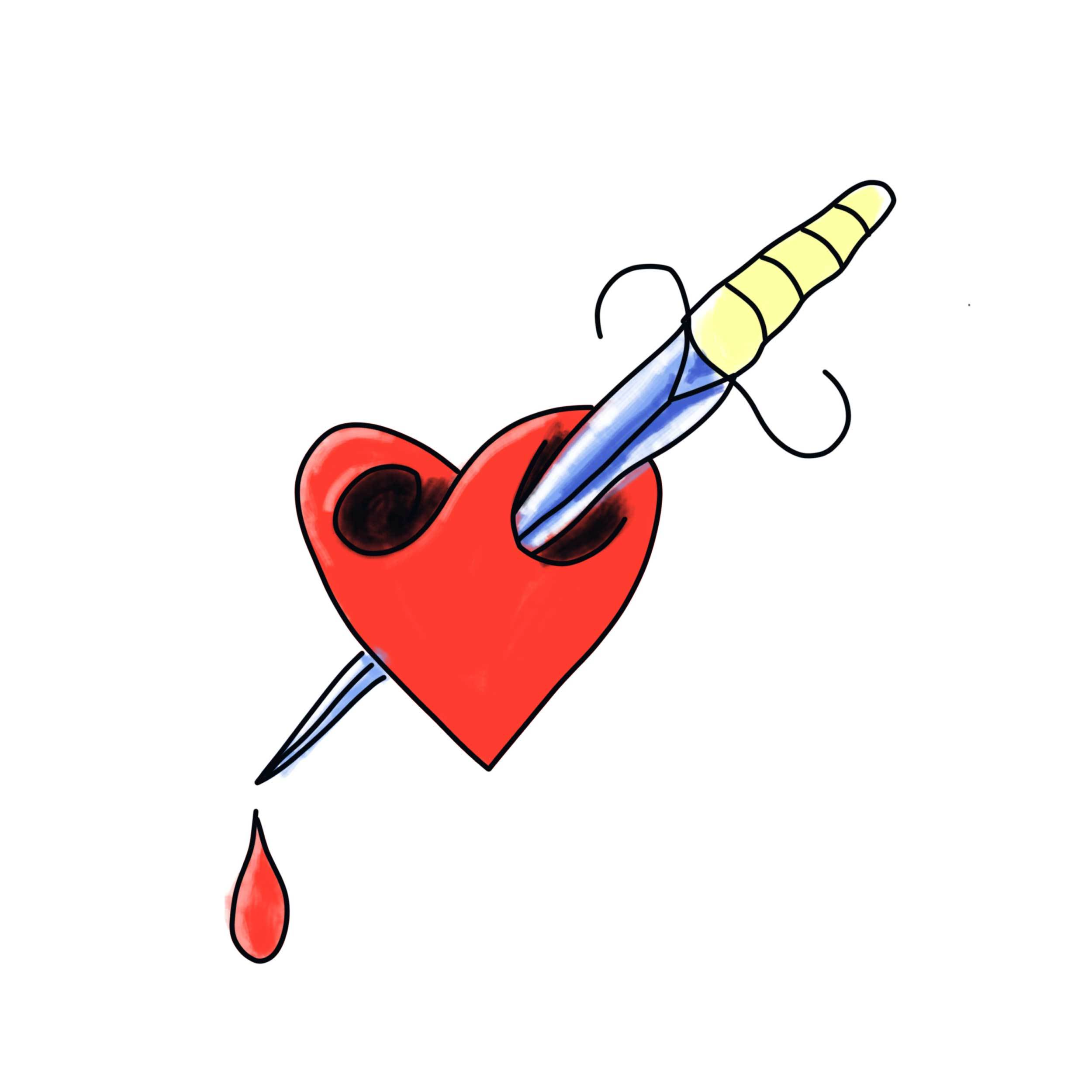 Stabbed Heart Temporary Tatoo Design. Tags: Traditional, Color, Abstract,