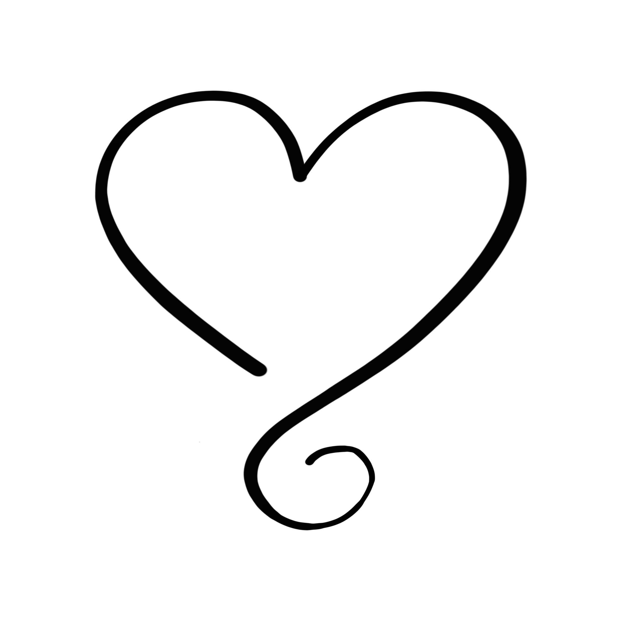 Heartline Temporary Tatoo Design. Tags: Minimal, Black and White, Traditional,