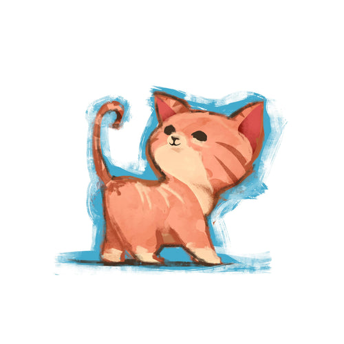 Cute Kitten Temporary Tatoo Design. Tags: Animals, Color, Watercolor,