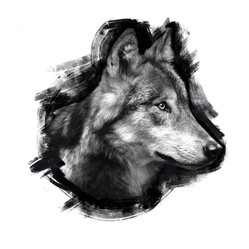 Lone Wolf Temporary Tatoo Design. Tags: Animals, Black and White, Realistic,