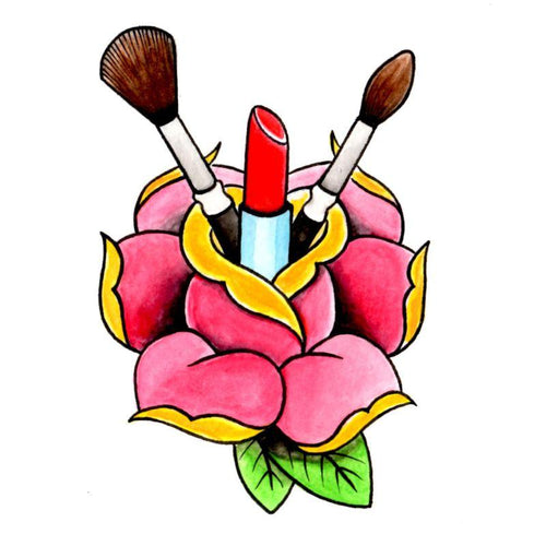Makeup Rose Temporary Tatoo Design. Tags: Traditional, Flowers, , , Womens, Color, New