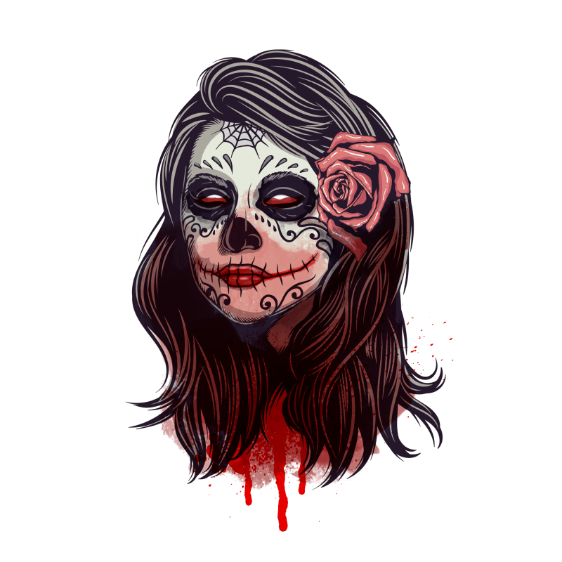 Skull Lady Temporary Tatoo Design. Tags: People, Watercolor, Halloween, , Unisex, Color, New