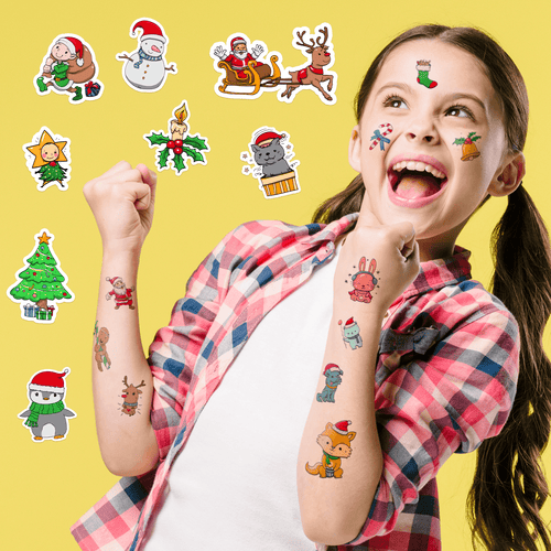 Christmas Holiday Temporary Tattoos for Kids
