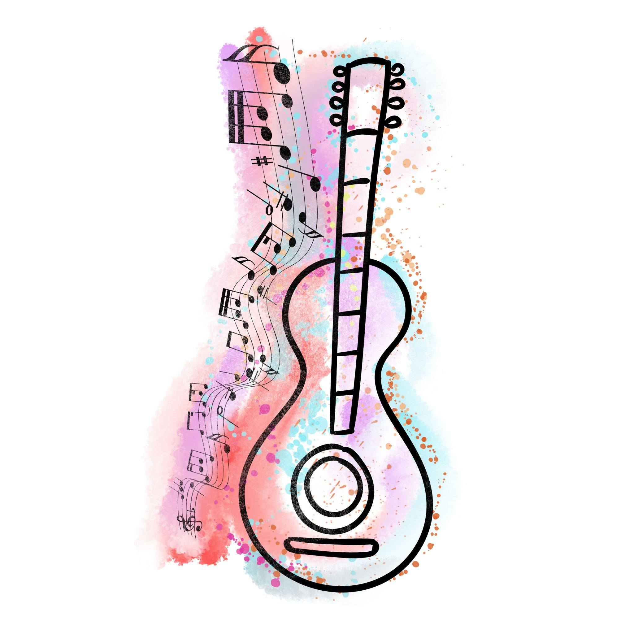 Music Temporary Tatoo Design. Tags: Watercolor, Abstract, Color,