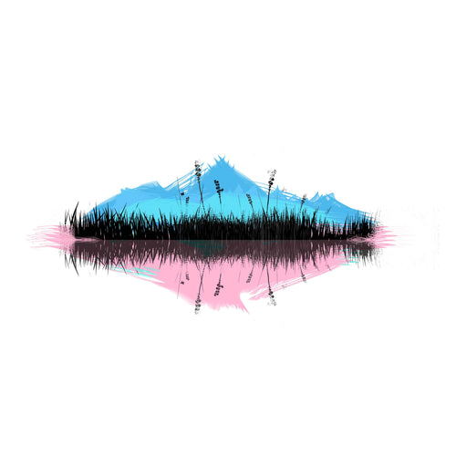 Scenic Reflection Temporary Tatoo Design. Tags: Color, Nature, Abstract, Watercolor