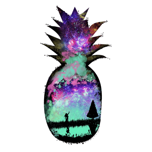 Galactic Pineapple Temporary Tatoo Design. Tags: Festival, Watercolor, , , Unisex, Color, New