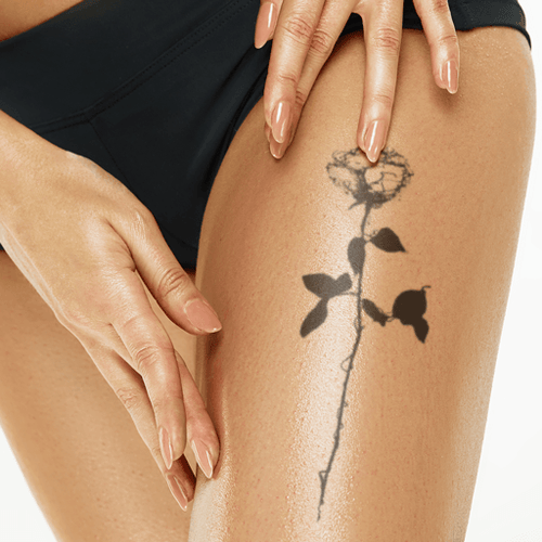 Rising Rose Line Temporary Tattoo