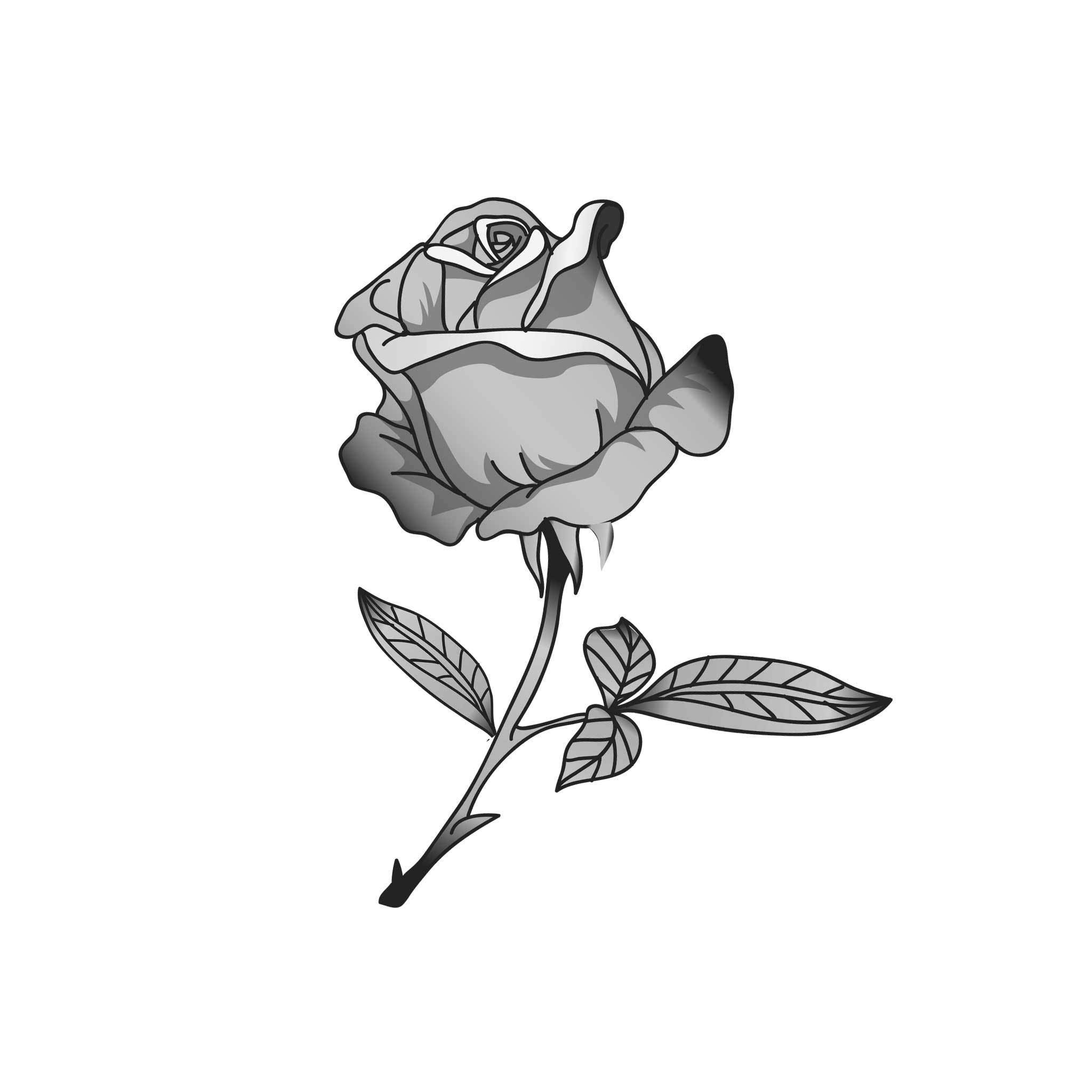 Artistic Rose Temporary Tatoo Design. Tags: Minimal, Black and White, Nature, Flowers