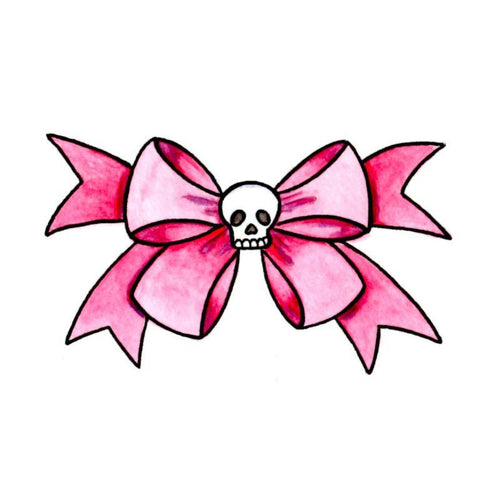 Skull Bow Temporary Tatoo Design. Tags: Traditional, Skulls, Pinups, , Womens, Color, New