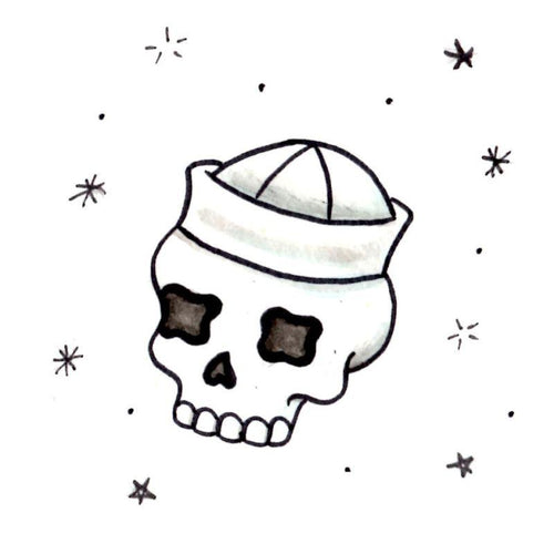 Sailor Skull Temporary Tatoo Design. Tags: Traditional, Skulls, , , Unisex, Color, New