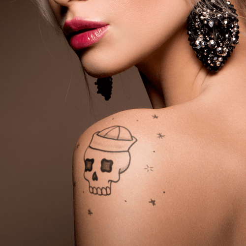 Sailor Skull Temporary Tattoo