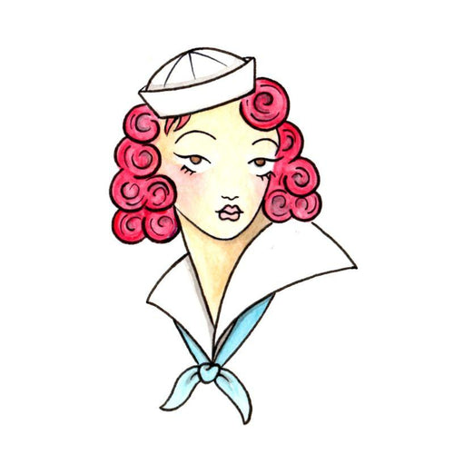 Sailor Girl Temporary Tatoo Design. Tags: Traditional, Pinups, , , Womens, Color, New